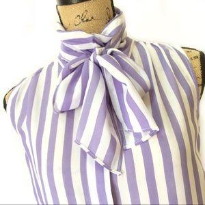 Eva Mendes Striped Bow Blouse Lavender and White